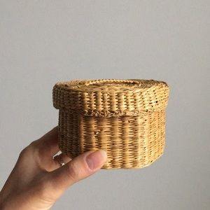 Boho Straw Basket with Lid